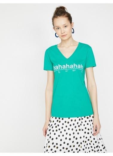Koton Yazılı Baskılı T-Shirt Yeşil